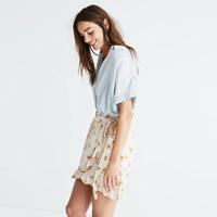Madewell Silk Meadow Wrap Skirt In Field Bouquet Sandcastle