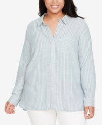 William Rast Trendy Plus Size Cotton Convertible Striped Shirt Smoke Blue Clear Blue Day Stripe
