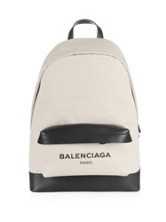Balenciaga Large Navy Canvas And Leather Backpack