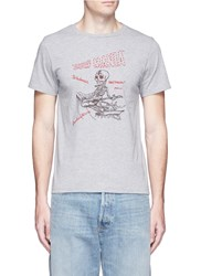 Remi Relief 'Surf Mania' Skeleton Embroidered Cotton T Shirt Grey
