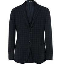 Massimo Alba Navy Slim Fit Gingham Linen Blazer Blue