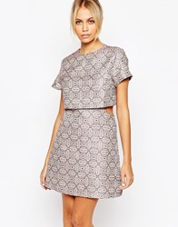 Fashion Union Brocade Layered Aline Dress With Pleat Front Pink