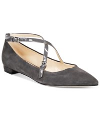 Nine West Anastagia Strappy Pointed Toe Flats Women's Shoes Dark Grey