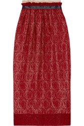 Mother Of Pearl Eloise Pleated Lace Midi Skirt Claret