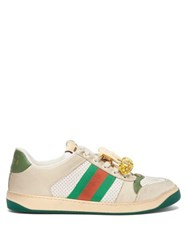 Gucci Screener Gg Cherry Embellished Leather Trainers White Multi