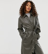 Asos Design Tall Leather Look Trench Coat Green