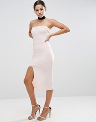 Asos Strapless Midi Bodycon With Curved Splits Nude Beige