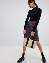 Bershka Check Skirt Red