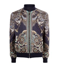 Versace Collection Reversible Printed Bomber Jacket Male Blue