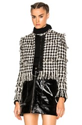 Msgm Tweed Jacket In Black White Checkered And Plaid Black White Checkered And Plaid
