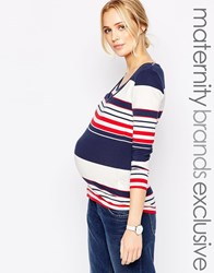 Mama Licious Mamalicious Nursing Long Sleeve Stripe Jersey Top Multi