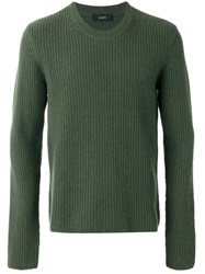 Joseph Ribbed Cashmere Jumper Green
