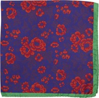 Duchamp Men's Floral Print Pocket Square Blue