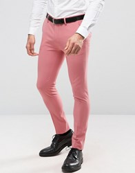 Asos Super Skinny Suit Trousers In Mid Pink Pink