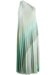 Missoni Pleated One Shoulder Dress Blue