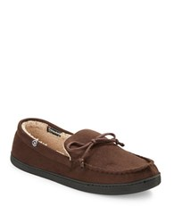 Isotoner Sherpa Lined Loafer Slippers Chocolate
