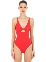 Tory Burch Knot Front One Piece Swimsuit W Cutout Red