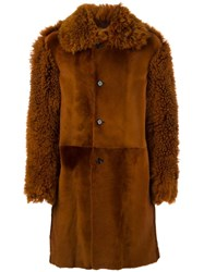 Ann Demeulemeester Sheepskin Shearling Coat Brown