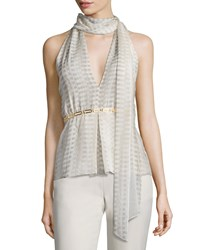 Halston Heritage Sleeveless Top W Scarf Size 0 Parchment