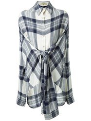Fad Three Checked Front Knot Shirt Blue