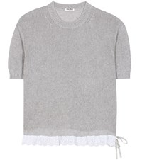 Miu Miu Knitted Cotton Top Grey