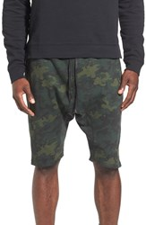 The Rail Men's French Terry Drawstring Shorts Green Forest Camouflage