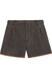 Jonathan Simkhai Pinstriped Neoprene Shorts Dark Gray