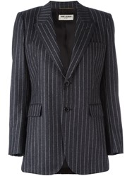 Saint Laurent Single Breasted Pinstripe Blazer Grey