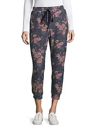 Saks Fifth Avenue Kiki Floral Print Jogger Pants Navy