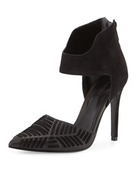 Sigerson Morrison Galcia Woven Suede Leather Pump Black