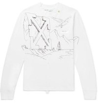 Off White Printed Cotton Jersey T Shirt White
