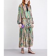 Etro Paisley Print Silk Maxi Dress Green
