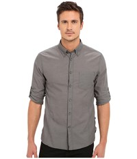 John Varvatos Roll Up Sleeve Shirt W Button Down Collar Single Pocket Elephant Men's Long Sleeve Button Up Brown