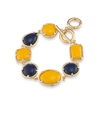1St And Gorgeous Multi Shape Flex Toggle Bracelet Gold Dark Blue Old Dark And Blue