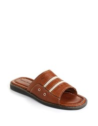 Tommy Bahama Anchors Away Leather Slide Sandals Brown
