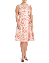 Adrianna Papell Plus Ikat Print Fit And Flare Dress