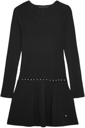 Karl Lagerfeld Shelby Studded Stretch Jersey Mini Dress Black