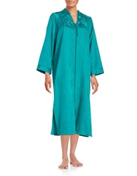 Miss Elaine Floral Patterned Zip Front Robe Teal