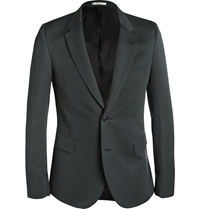 Paul Smith Green Slim Fit Cotton And Silk Blend Blazer