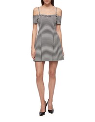 Guess Striped Squareneck Fit And Flare Dress Black White