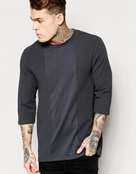 Asos Oversized Long Sleeve T Shirt With Crepe Panels Navy