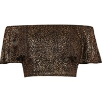 River Island Womens Black Metallic Lace Frill Bardot Crop Top