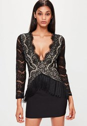 Missguided Black Plunge Lace Long Sleeve Bodycon Dress