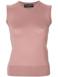 Dolce And Gabbana Fine Knit Tank Top Pink