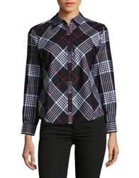 Lord And Taylor Glasgow Plaid Button Down Shirt Black