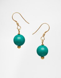Mirabelle Turquoise Drop Gold Plated Earrings Turquoise