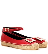 Roger Vivier Embellished Patent Leather Espadrilles Red