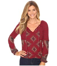 Lucky Brand Placed Print Top Wild Currant Multi Women's Clothing Red