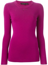 Barbara Bui Spike Stud Crew Neck Sweater Pink And Purple