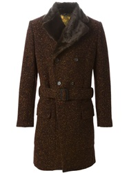 Vivienne Westwood Fur Trimmed Collar Double Breasted Coat Brown
